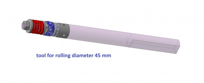 Tool for rolling internal cylindrical holes (ball)