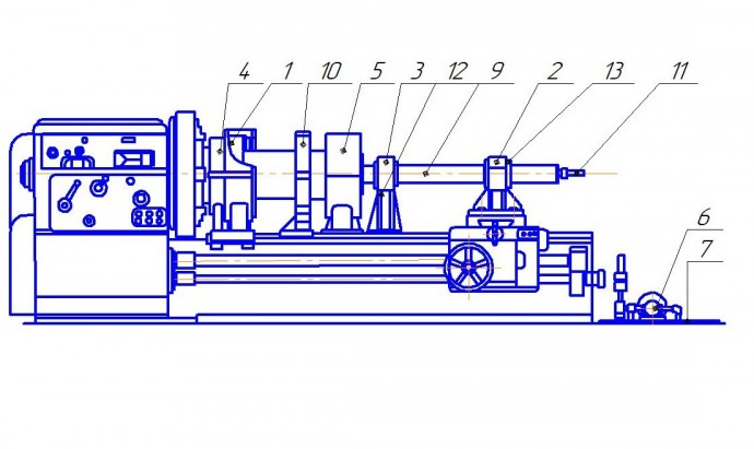 Adaptation and rigging to the turning and cutting machine of model 165 for machining deep holes of pneumo and hydro cylinders, as well as any lengthy bodies of revolution
